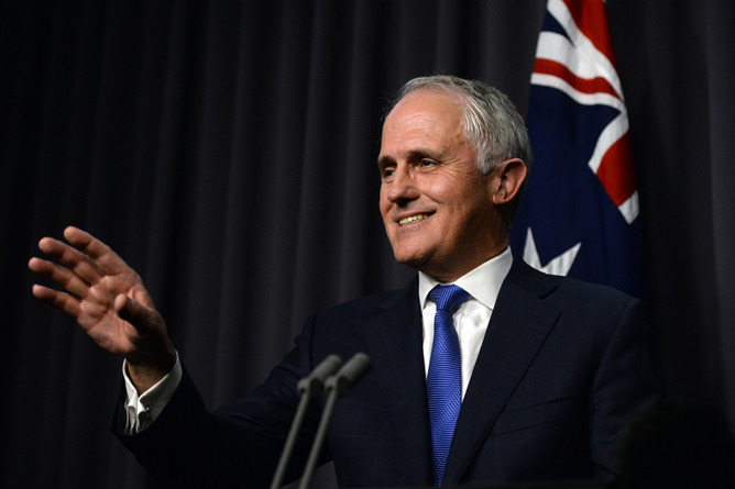 Australian Prime Minister designate Malcolm Turnbull,  speaks during a press conference in the Blue Room, after winning the Australian Federal leadership in a party ballot vote, at Parliament House in Canberra, Monday, Sept. 14, 2015. (AAP Image/Sam Mooy) NO ARCHIVING