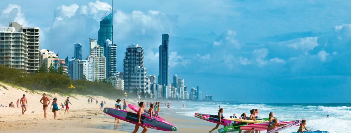 Surfing on Mermaid Beach