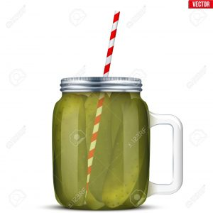 Cockatail of Pickled cucumbers in glass jar with straw. Pickle Juice Trend Drink. Sports nutrition and healthy supplements. Vector Illustration isolated on white background.