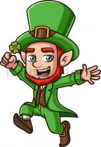 Royalty-free stock illustration of a leprechaun holding a clover and jumping for joy, looking happy and cheering.