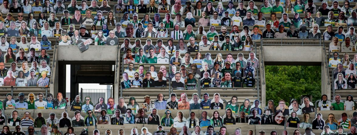 MOENCHENGLADBACH, GERMANY - APRIL 28: Pictures of fans, players, coaches and staff of Bundesliga club Borussia Moenchengladbach are seen at Borussia-Park on April 28, 2020 in Moenchengladbach, Germany. Borussia Moenchengladbach supporters sustain their club by buying cardboard characters, so called 'Pappkameraden', that will be printed and then displayed at the stadium should the Bundesliga continue with matches that will be played behind closed doors. (Photo by Christian Verheyen/Borussia Moenchengladbach via Getty Images)
