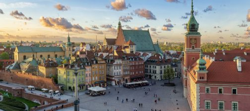 Warsaw, Royal castle and old town at sunset