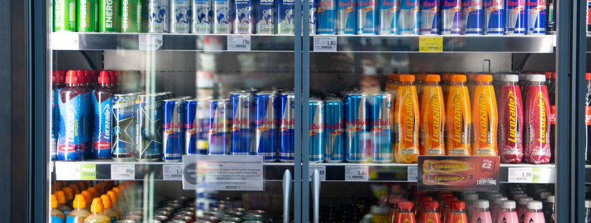 CARDIFF, UNITED KINGDOM - MAY 11: Bottles and cans of energy drinks seen in a supermarket fridge on May 11, 2018 in Cardiff, United Kingdom. (Photo by Matthew Horwood/Getty Images)